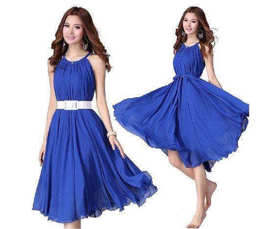 cf3e41508e Royal Blue Short Evening Wedding Party Dress Lightweight Sundress Summer  Dress Holiday Beach Dress Bridesmaid dress Knee Length