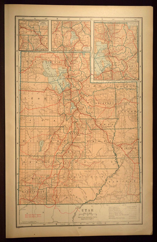 Utah Map Utah Highway Map LARGE Original Antique Wall Art ...