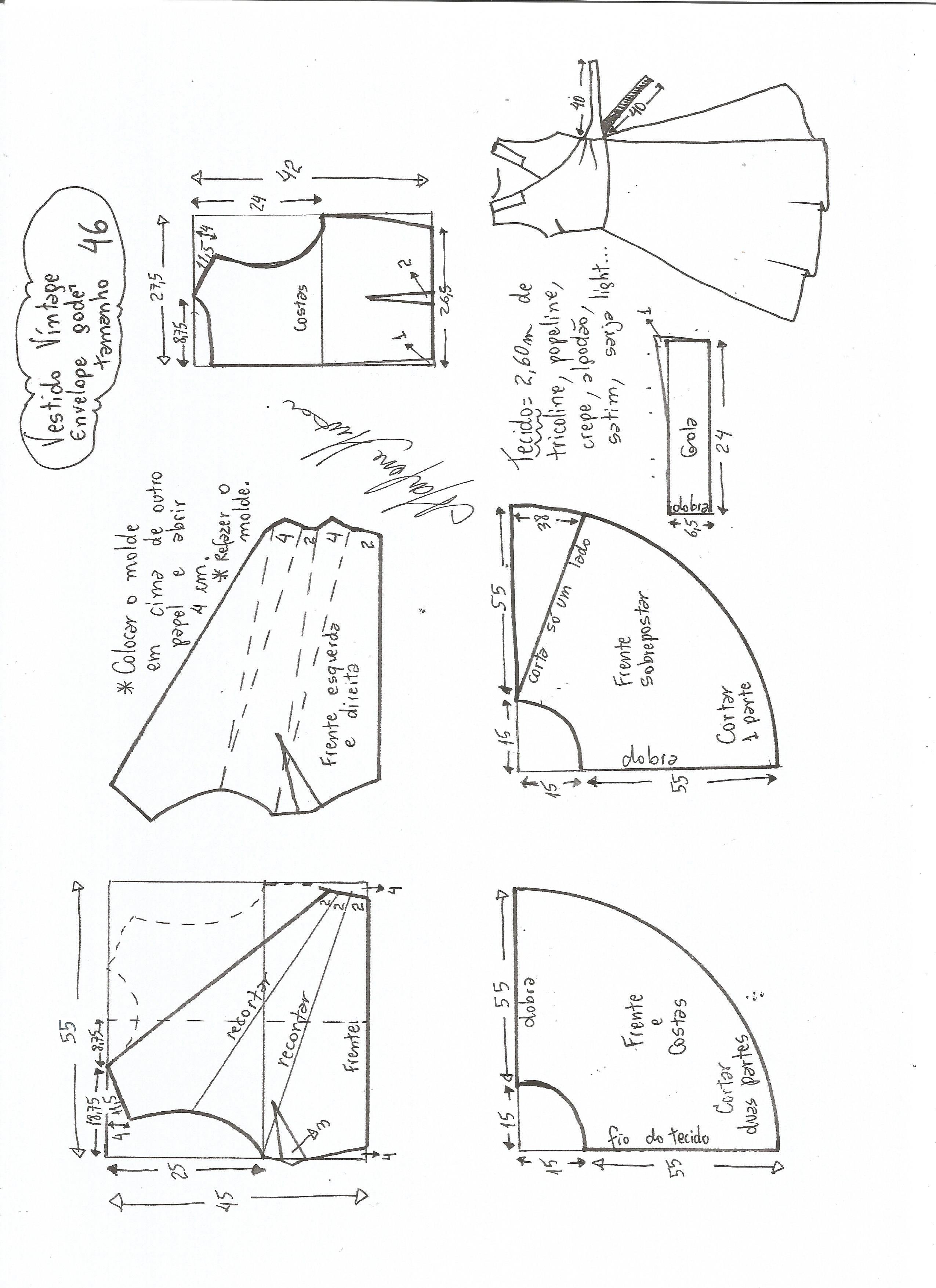 Vestido Vintage Envelope | Выкройки | Pinterest | Costura, Vestidos ...
