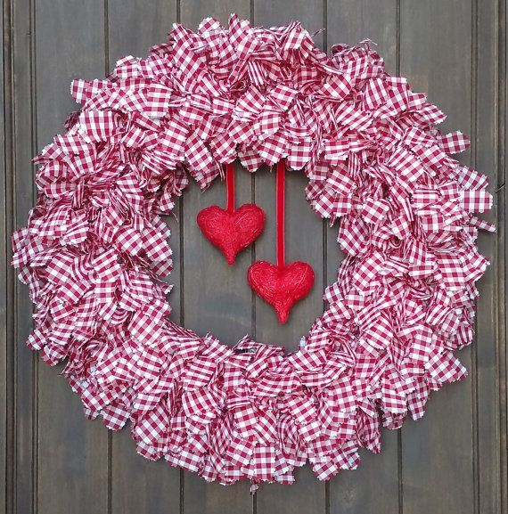Valentine's Wreath, Plaid Wreath, Heart Wreath, Red Wreath, Rustic Wreath, Shabby Chic Wreath, Gingham Wreath