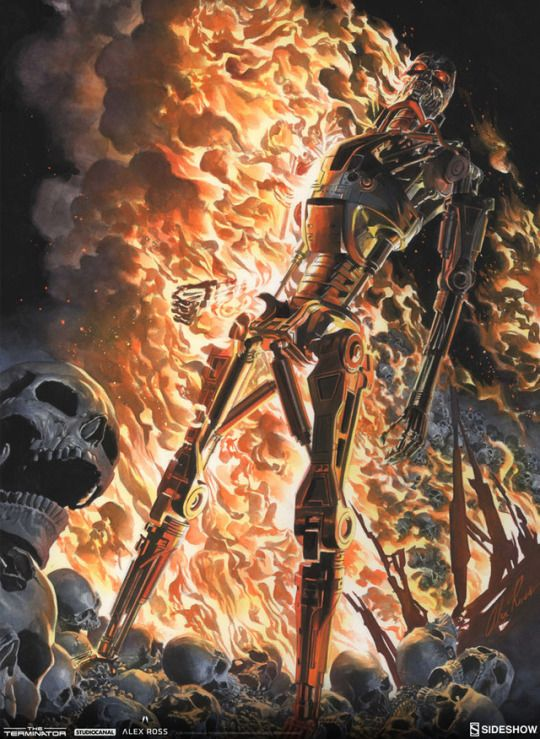 'The Terminator: The Burning Earth' by Alex Ross, cover art from the comics series Trade Paperback collection published in 2013 by Dark Horse Comics