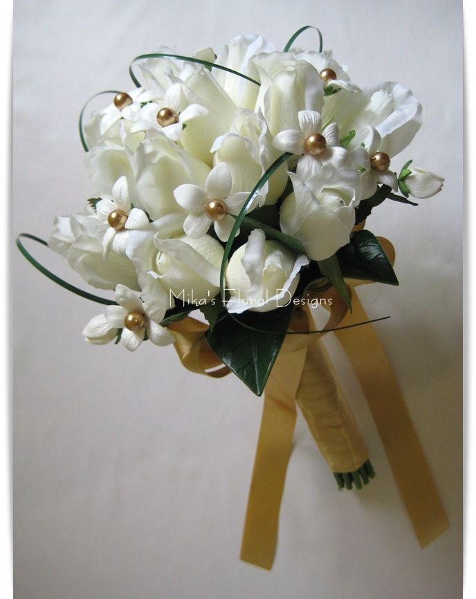 Gold Bridal Bouquets Artificial Wedding Flowers And Bouquets