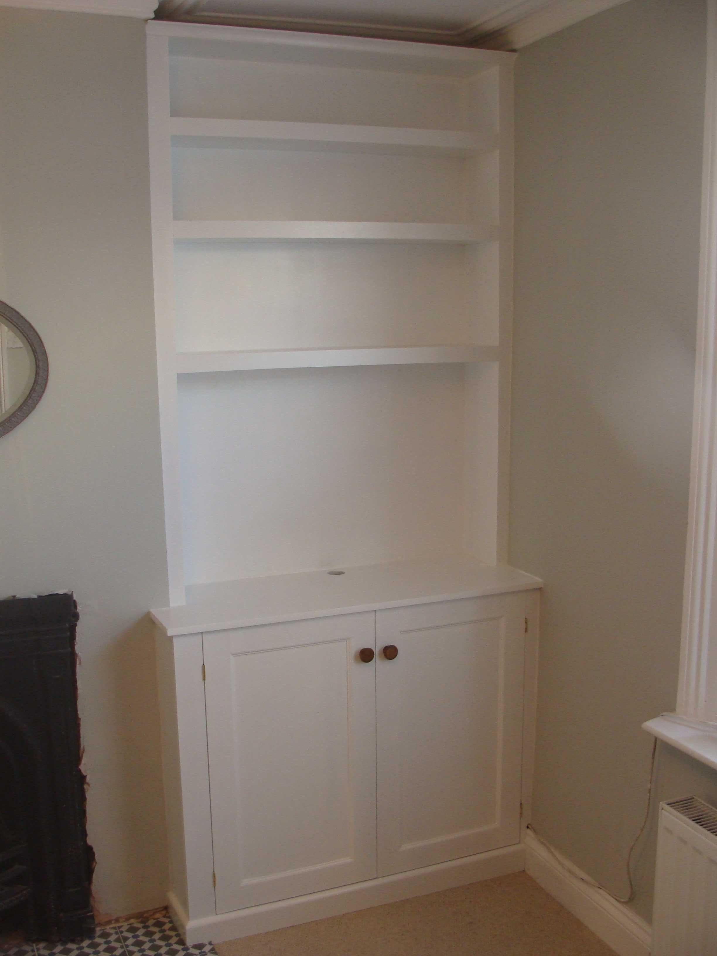 Built In Shaker Style Living Room Alcove Unit Living