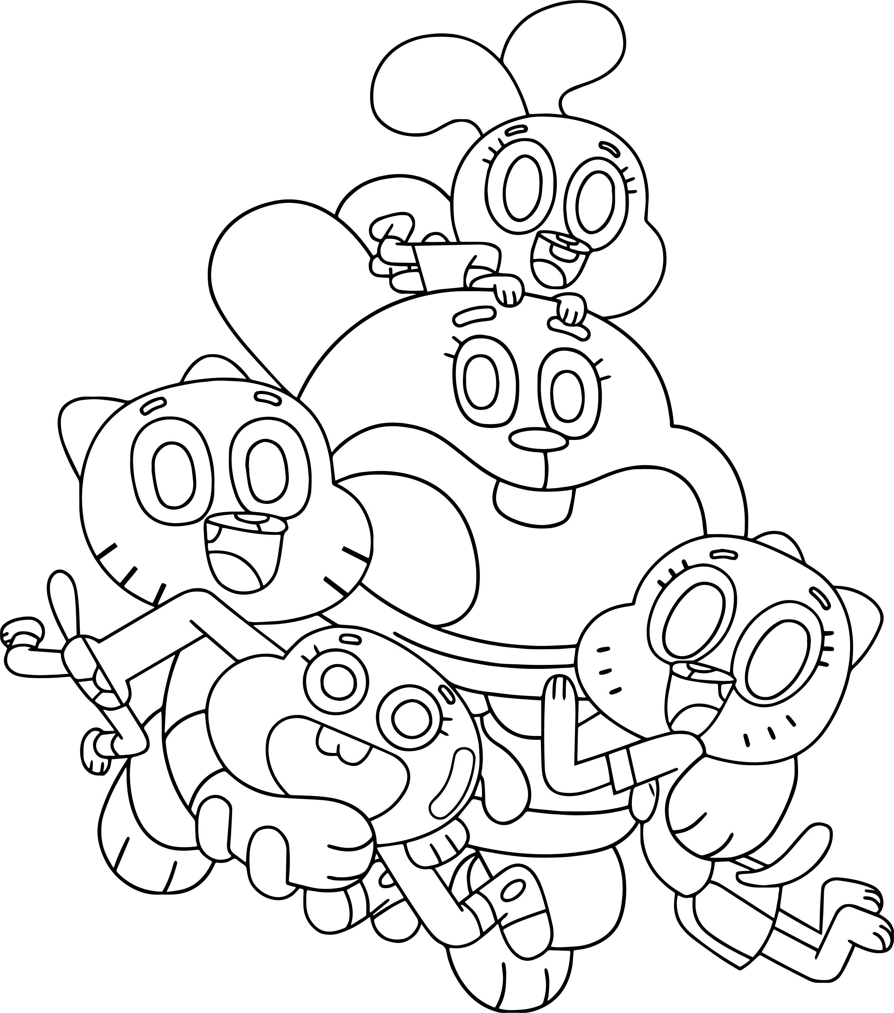 Cool The Amazing World Of Gumball Family Coloring Page Family