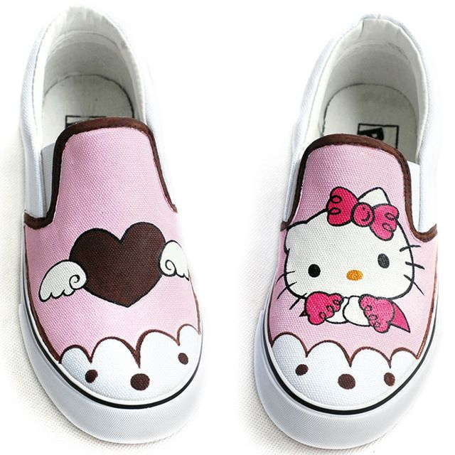 706d37a2b481c Cat Style Children's Hand-painted Canvas Shoes Kids Sneakers Low ...