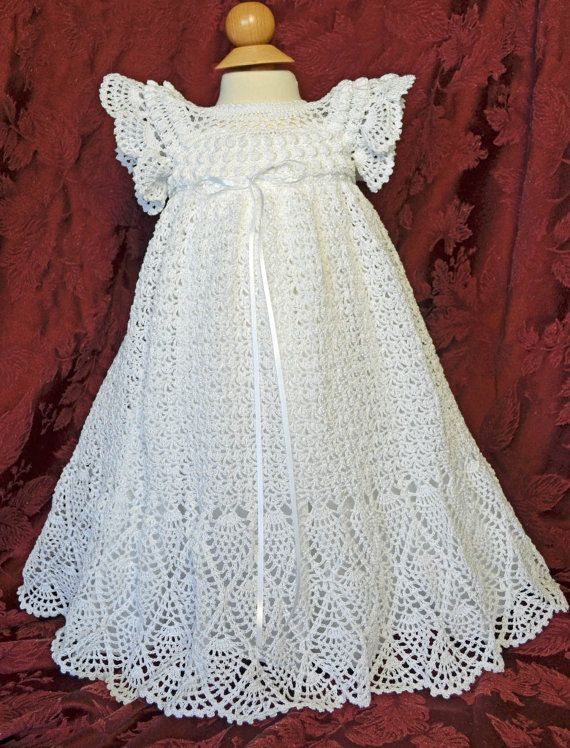 Bautizo blanco / bendición vestido con el Slip y el bonete - 3 a 6 ...