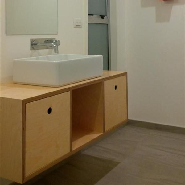 Plywood Vanity With Circle Cutouts Meubles Diy