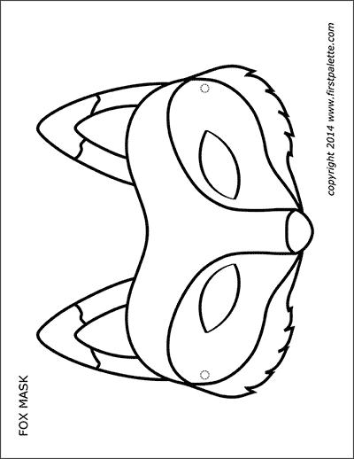 Printable Fox Mask Fox Mask Template Animal Mask Templates Fox Coloring Page