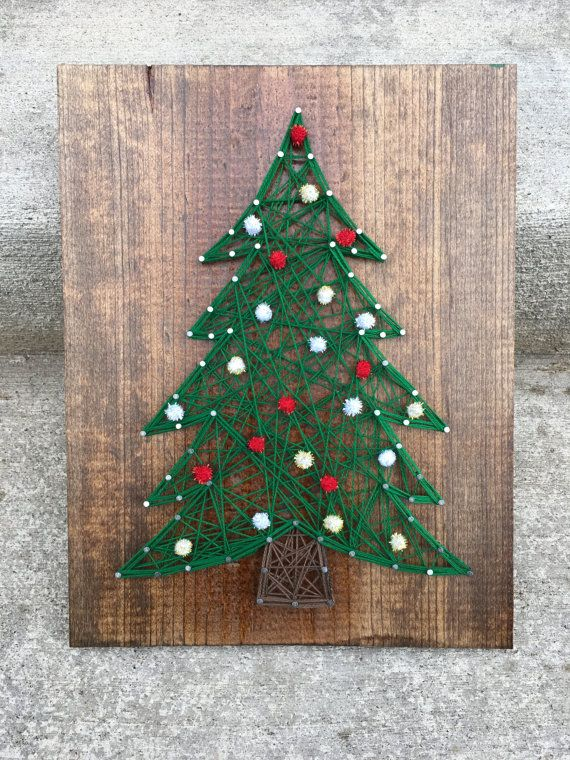 Christmas is just around the corner, get in the spirit with this string  art, available with or without ornaments, handmade just for you - Christmas Tree String Art Crafting String Art, Christmas Crafts