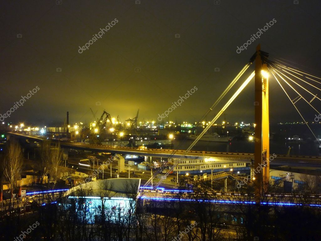 Seaport with cranes at night - Stock Photo , #Ad, #cranes, #Seaport, #night, #Photo #AD