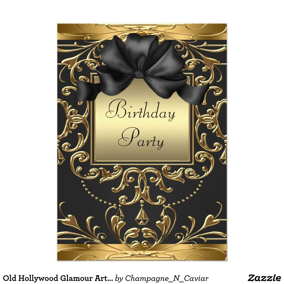 Old Hollywood Glamour Art Deco Birthday Party Card | Invitation ...