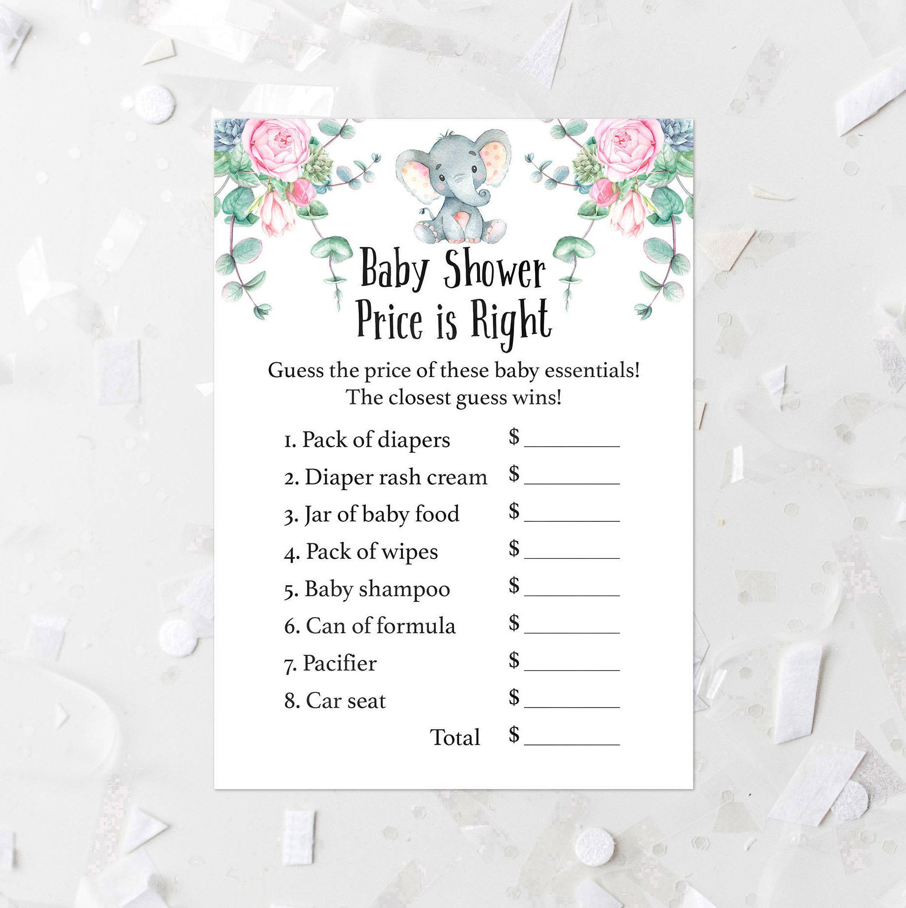 Floral Elephant Price Is Right Baby Shower Game Printable Elephant
