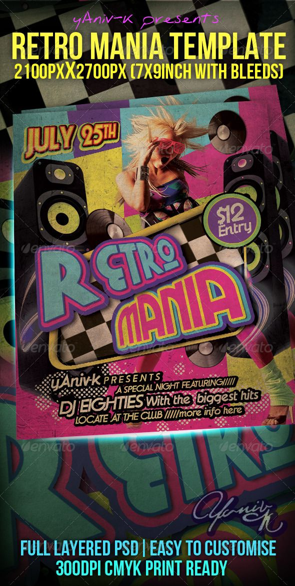 Retro Mania Flyer Template Flyer template, Print templates and - retro flyer templates