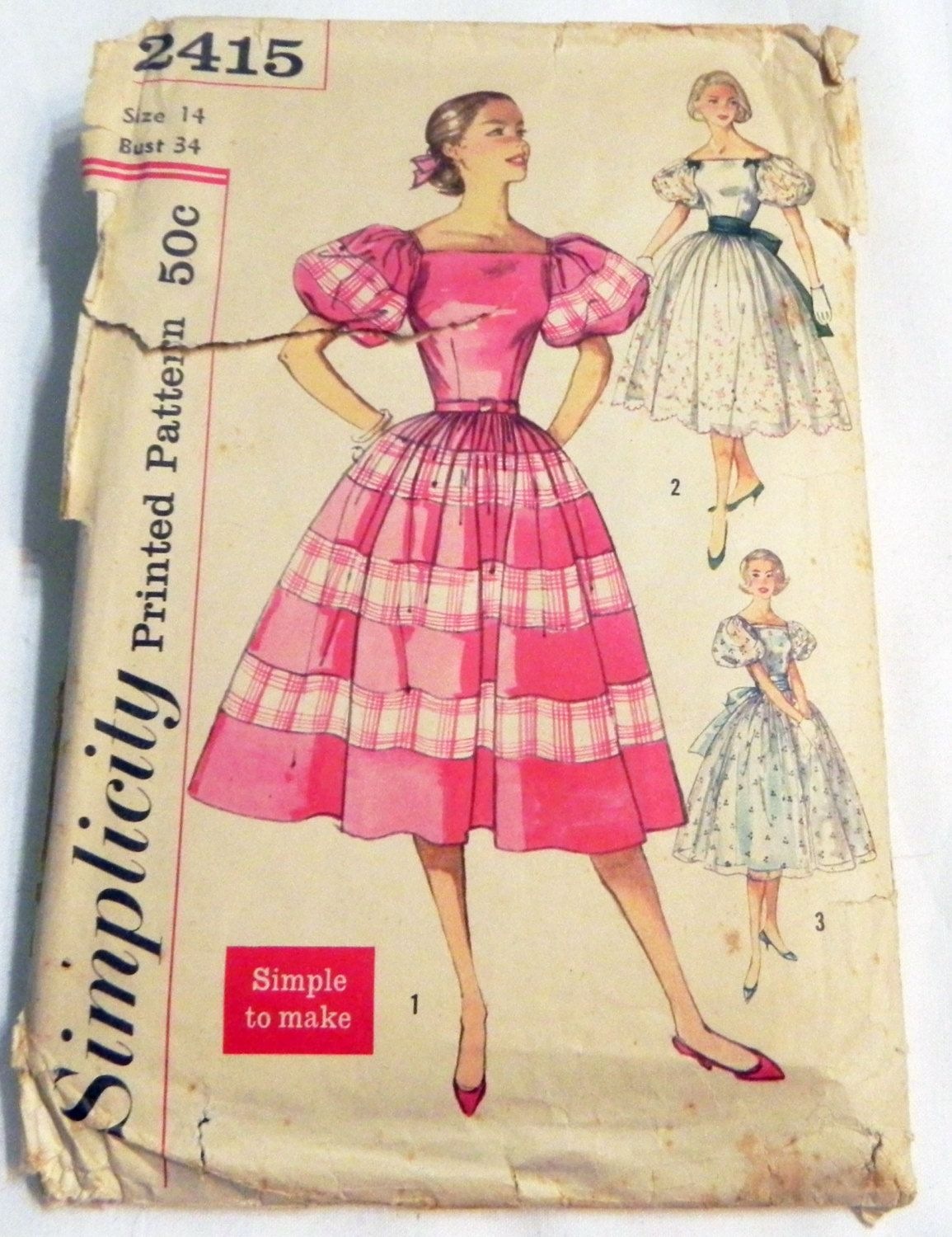 1950s Party Dress Prom Rockabilly Puff Sleeve sewing pattern ...