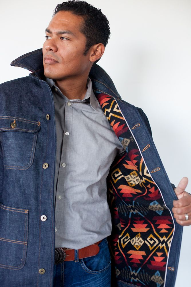 Ginew + L. C. King selvage barn coat with Pendleton wool lining.