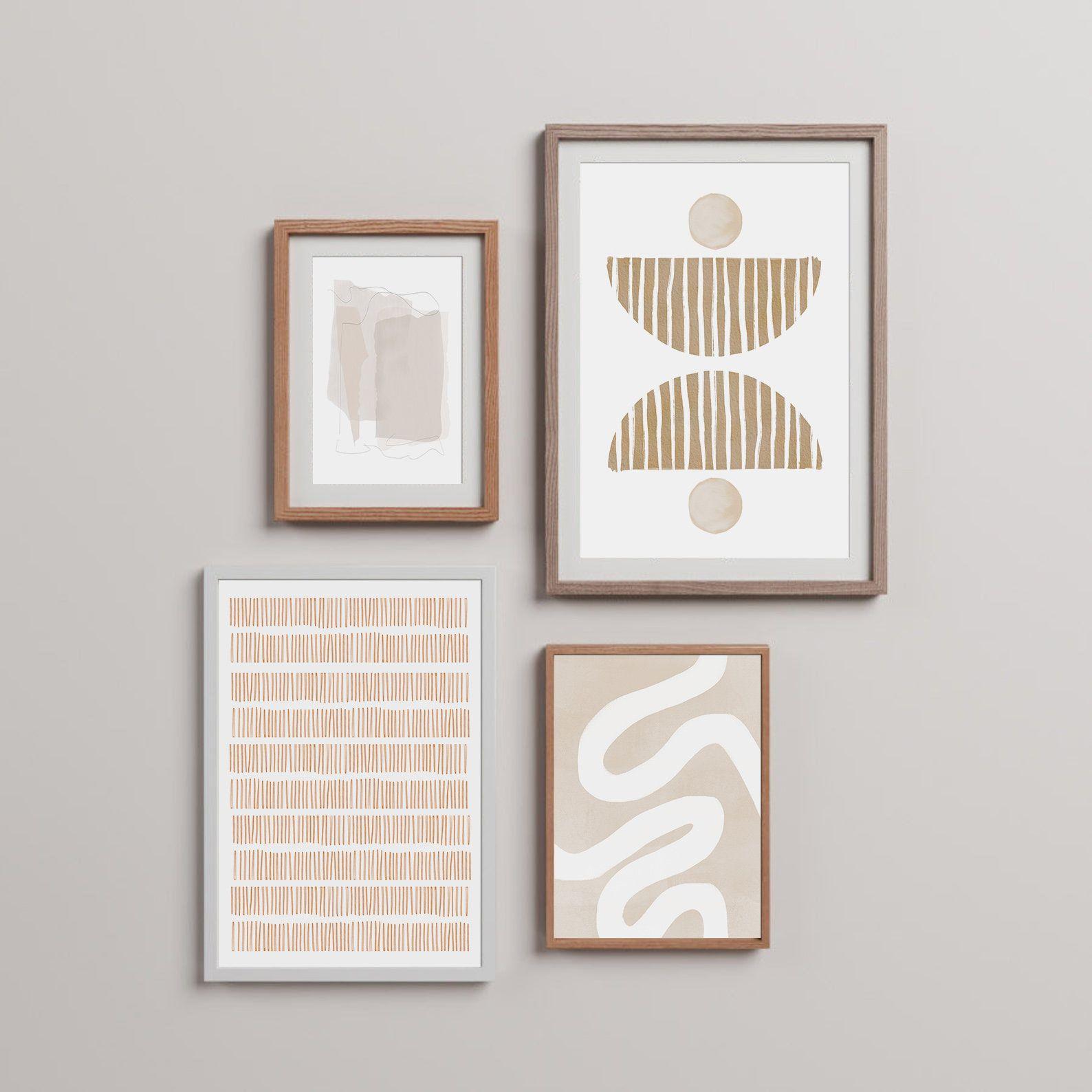 Living Room Art Set Set Of 4 Prints Beige Wall Set Boho Etsy In 2021 Pretty Wall Art Boho Wall Art Art Gallery Wall