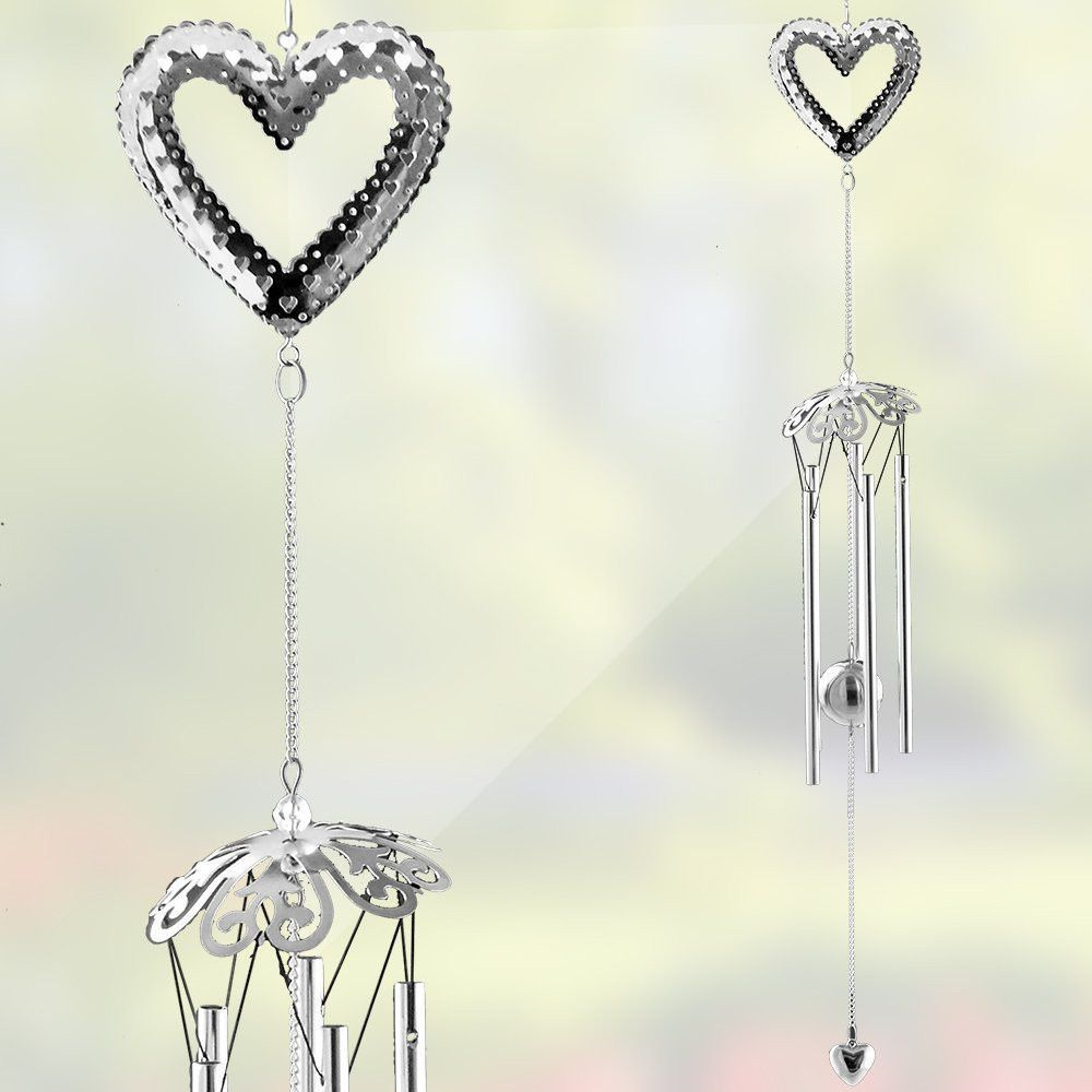 Heart Wind Chime Silver Heart Filigree Design With Metal Ball