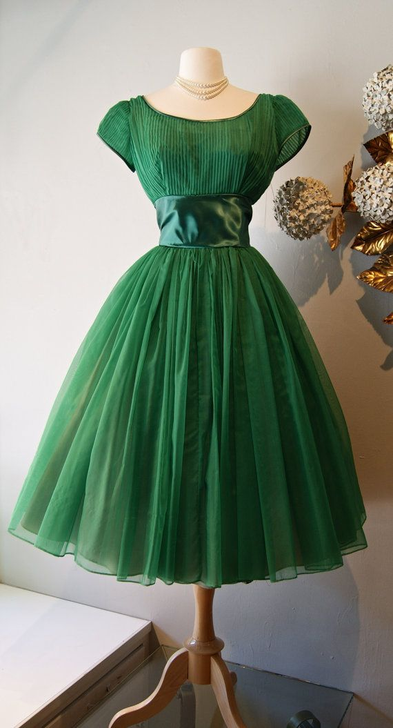 Vintage 1950s Bottle Green Party Dress With Full Skirt and Cap ...