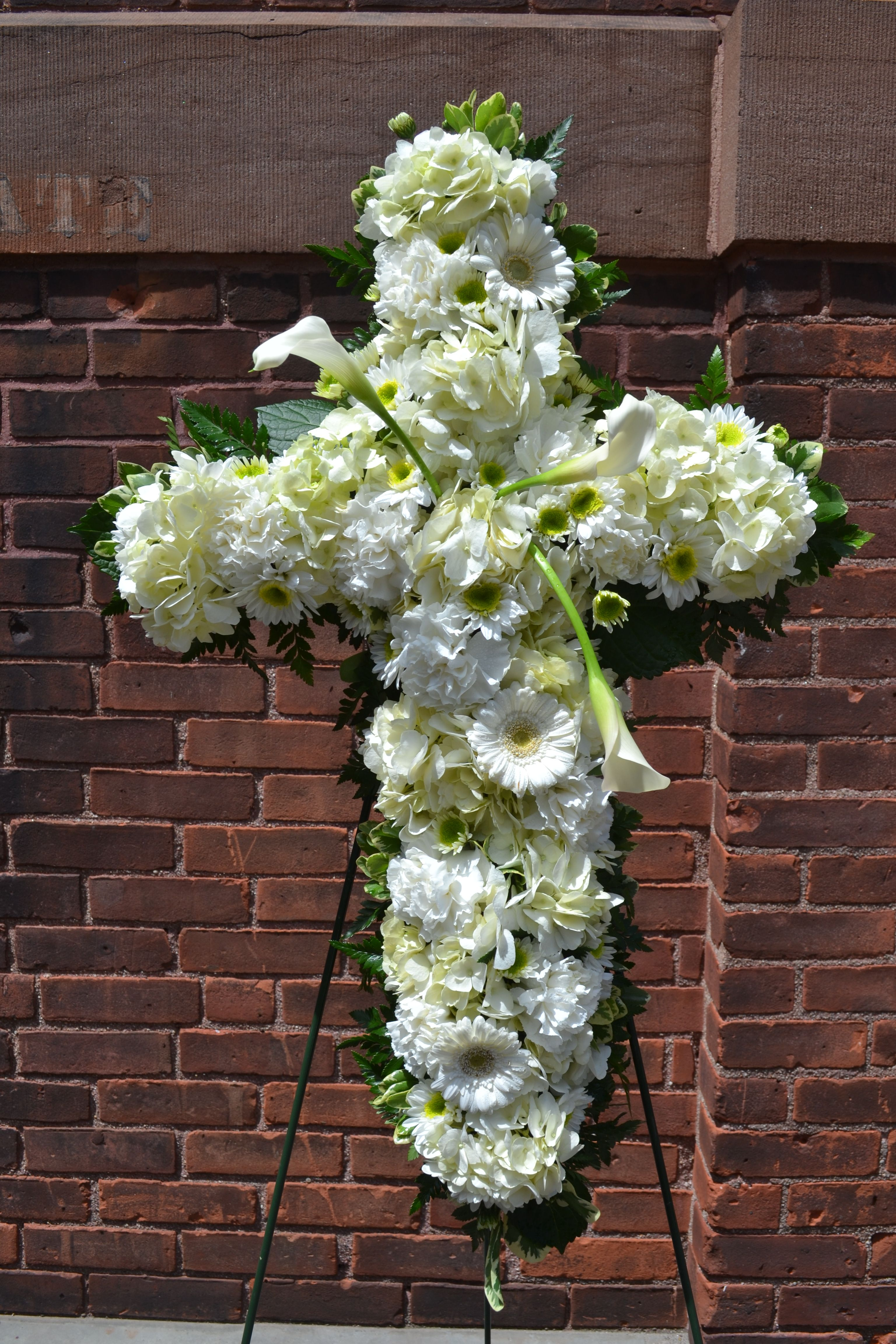 White floral standing spray for funeral cross shaped by terris white floral standing spray for funeral cross shaped by terris flower shop in naugatuck izmirmasajfo