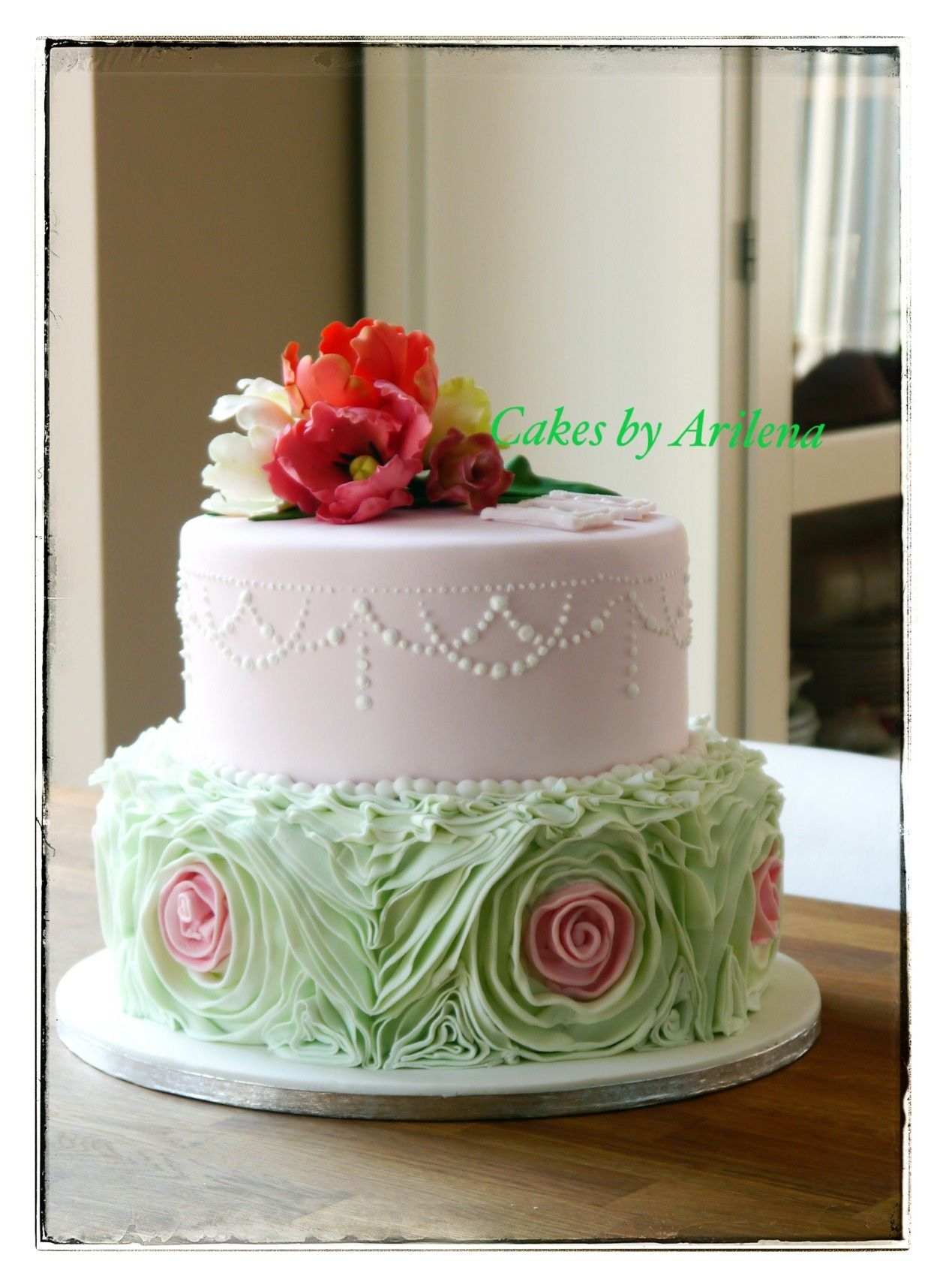 Parrot tulip and ruffle wedding cake