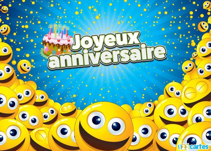 Carte Joyeux Anniversaire Smiley Galaxie Pour Natel