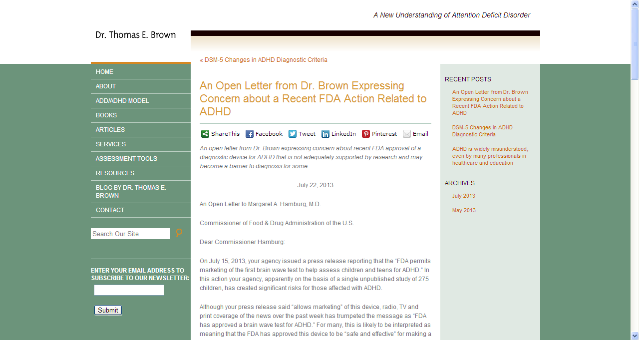 An open letter from Dr. Thomas Brown expressing concern about ...