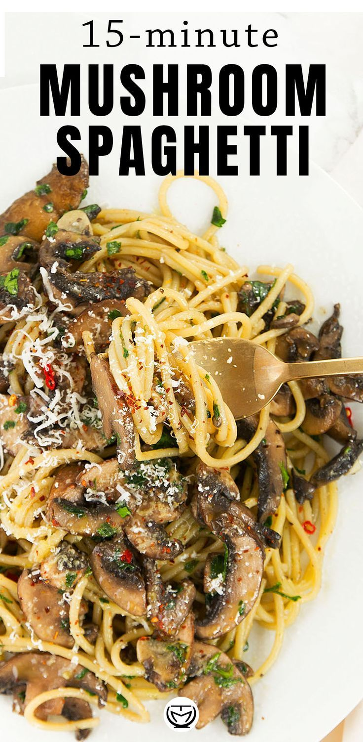 15 minute garlic mushroom pasta Everyone needs a good garlic mushroom pasta recipe in their back pocket for last minute dinners! It's packed with umami flavor and boosts your mood at the end of a long day.