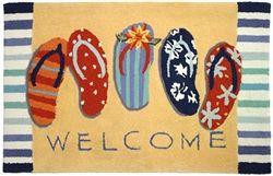Welcome mat with flip flops