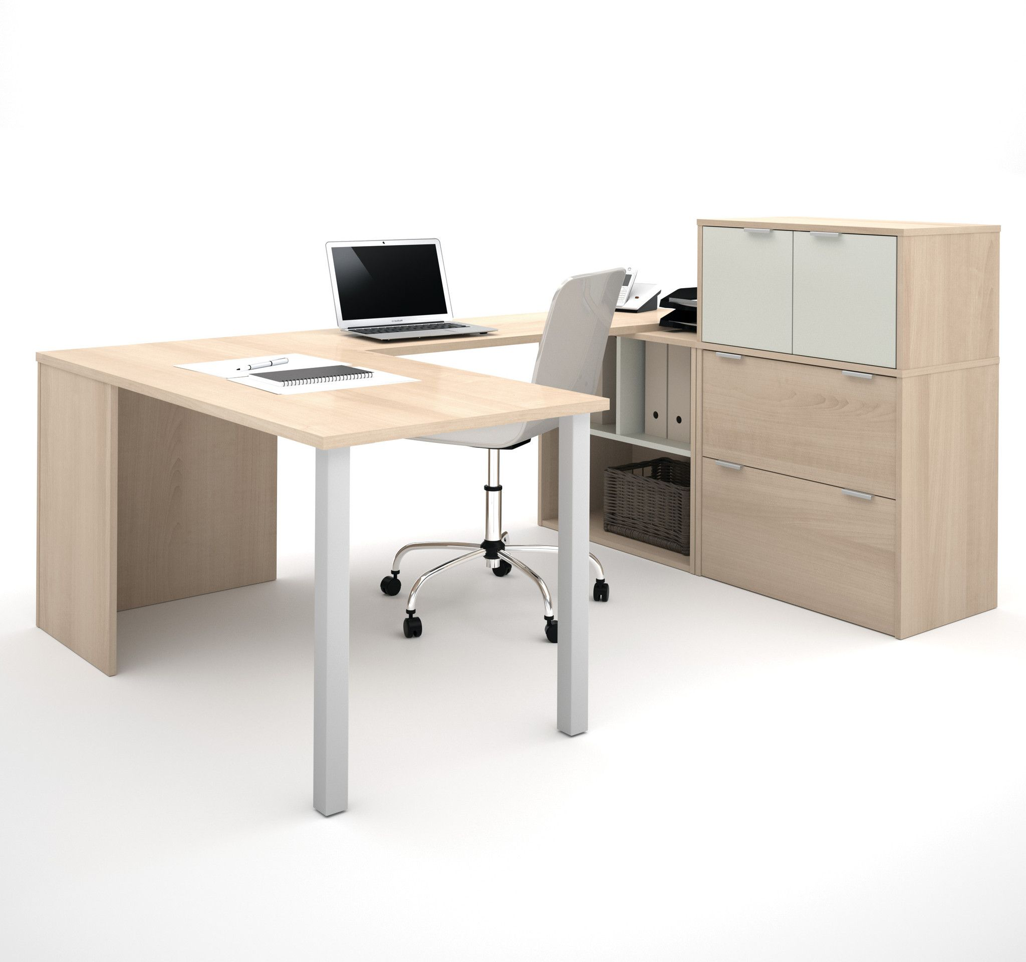Modern ushaped desk with integrated lateral file in maple u white