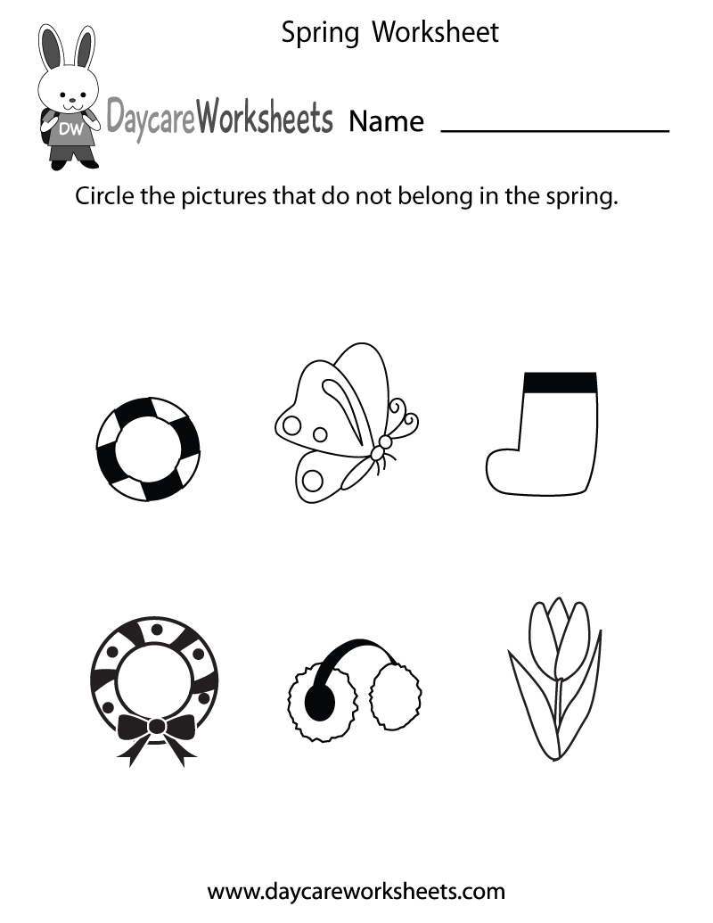 worksheet Spring Worksheets For Kindergarten preschoolers have to circle the pictures that do not belong in spring this free seasonal