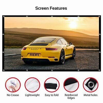 Details about Projector Screen HD 3D 4K Movie 16:9 Portable Home Cinema Outdoor Camp Theater