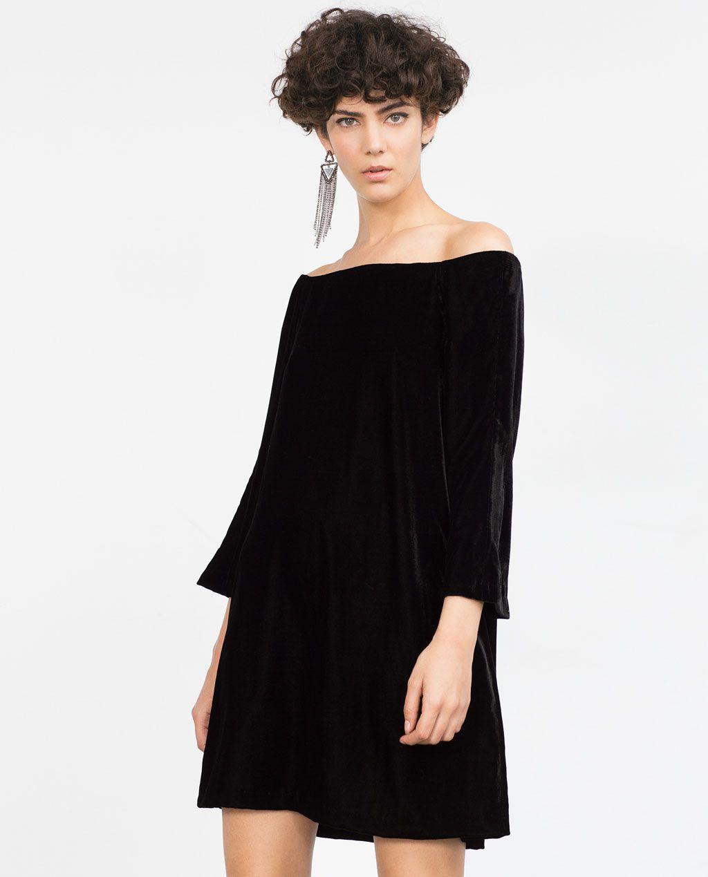 Robe portefeuille noire zara
