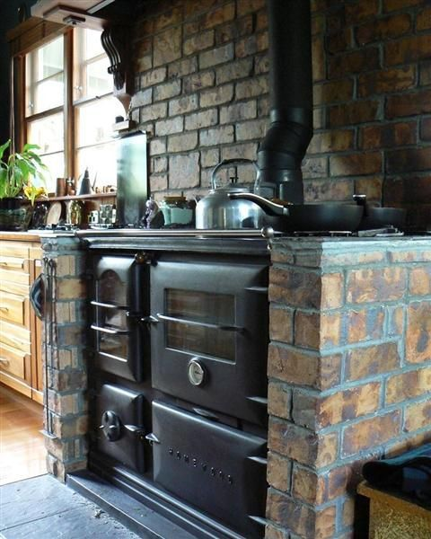 Incorporating An Antique Wood Cook Stove In Modern Kitchen