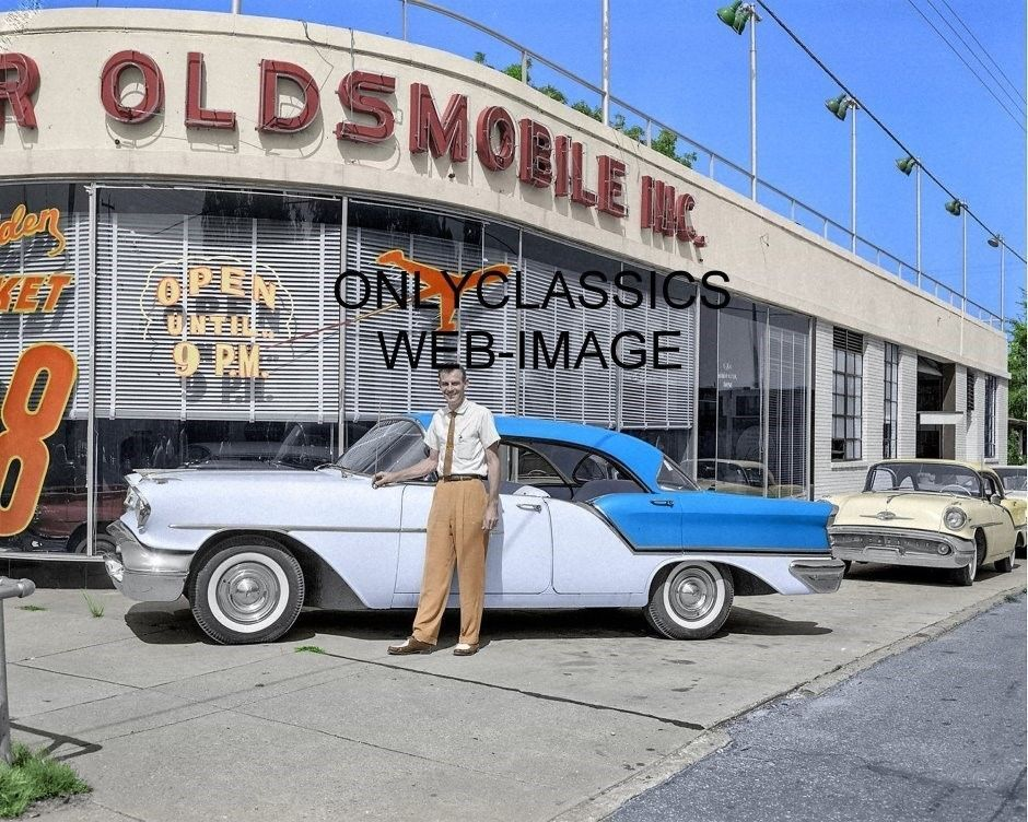 1957 Olds New Used Car Dealer Showroom Colorized 8x10 Photo Auto