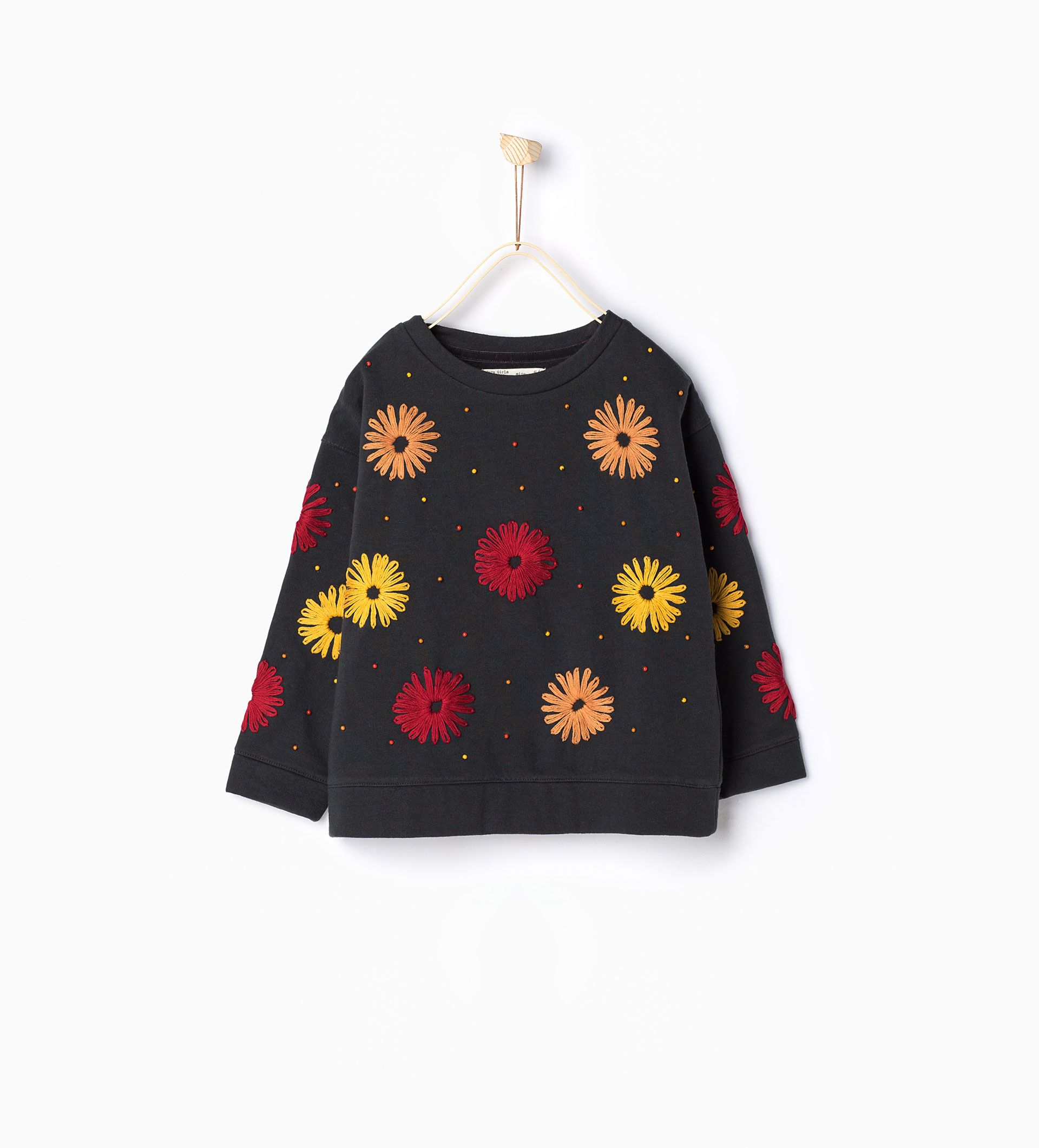 Embroidered floral and beaded sweatshirt - Sweatshirts - Girl  4b1c11e11b2
