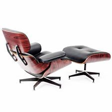 Eames Style Rosewood Lounge Chair Ottoman In Black Premium High