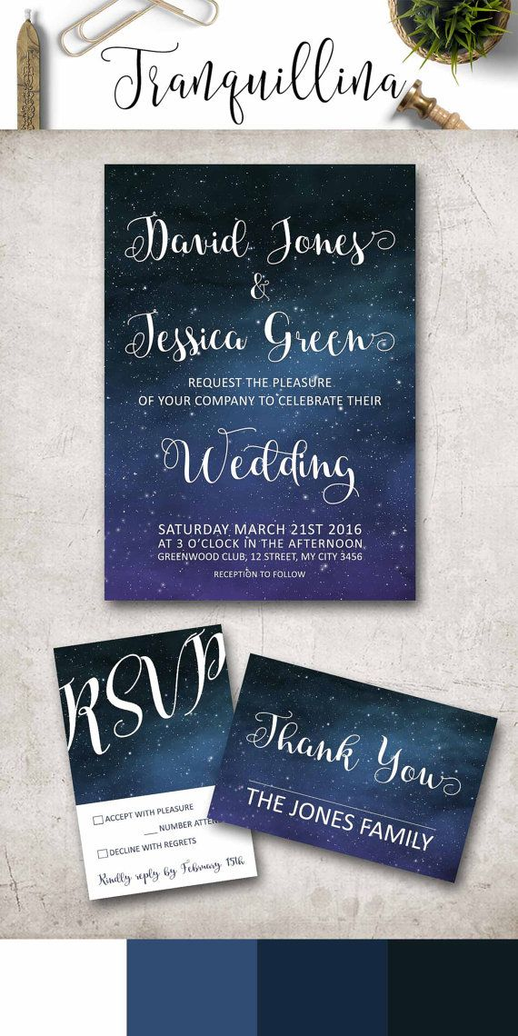 Wedding Invitation Printable, Modern Wedding Invite, Under the Stars ...