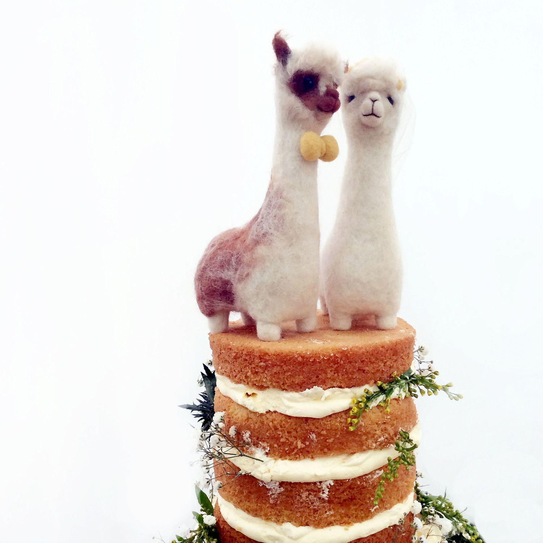 Alpaca wedding cake toppers fudge and mabel wedding