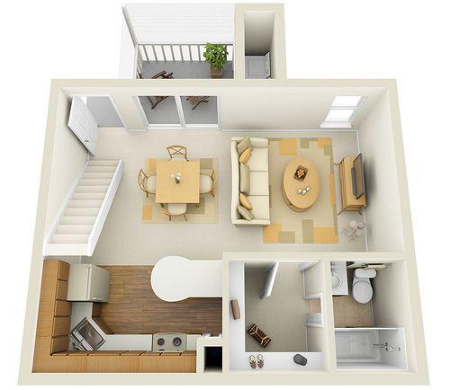 Studio 1st Floor Townhome 3D Floor Plan wwwlakeinthewoo