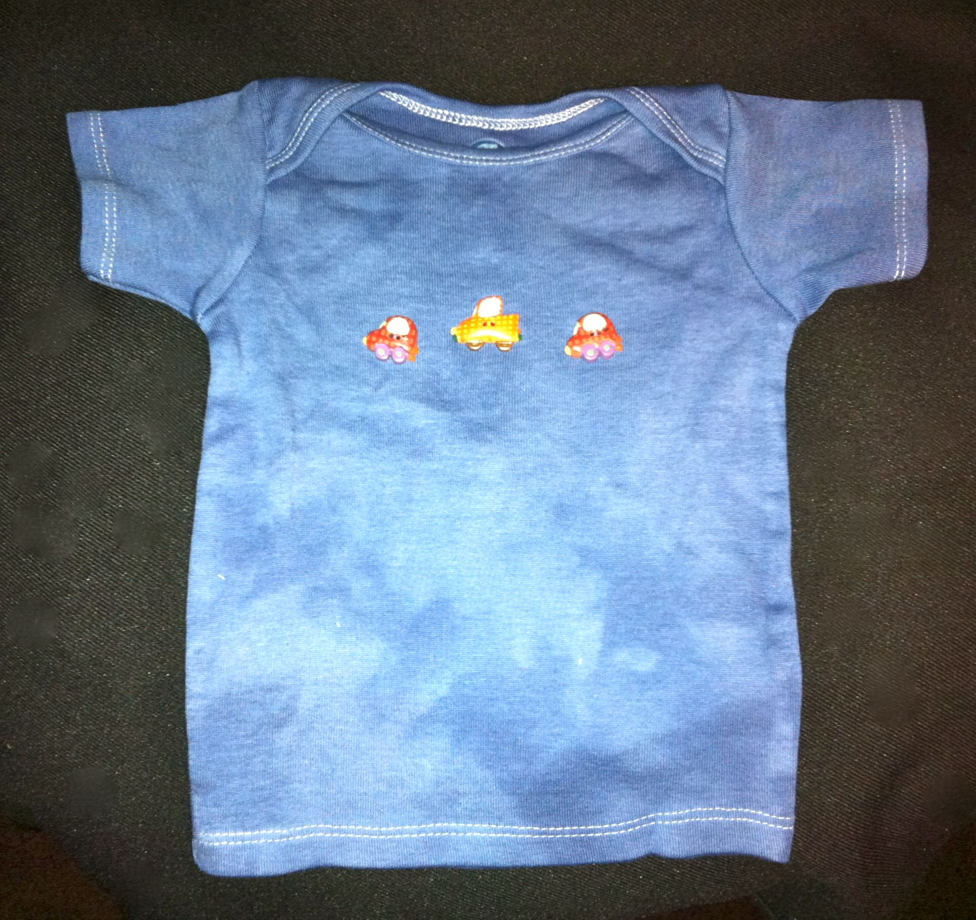 Infanttoddler tshirt hand dyed in blue discoloration normal