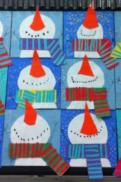 Weihnachtsbasteln Grundschule Ideen.Schneemänner Kunstunterricht Winterkunst Basteln Winter