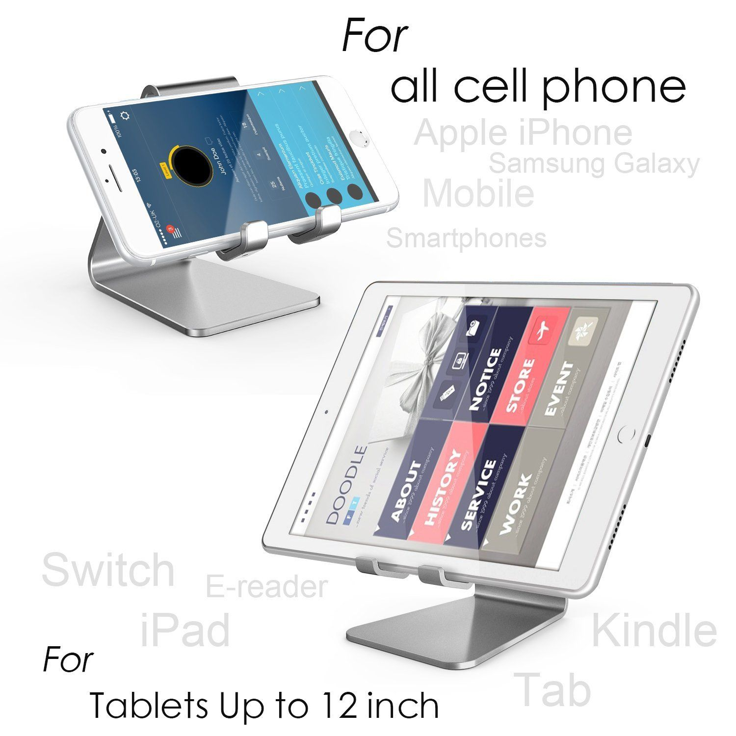 iPhone 11 Xs XR 8 7 Plus Foldable Phone Stand Holder Cradle Dock for Desk Tablet iPad Compatible with Smartphone Android 2 Hinge Adjustable KAERSI Cell Phone Stand Travel Office Black Home