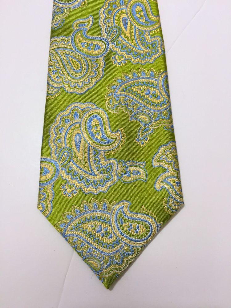 d1dee10e9127 Details about Green Blue Purple Paisley Wedding Stripe Necktie 100 ...