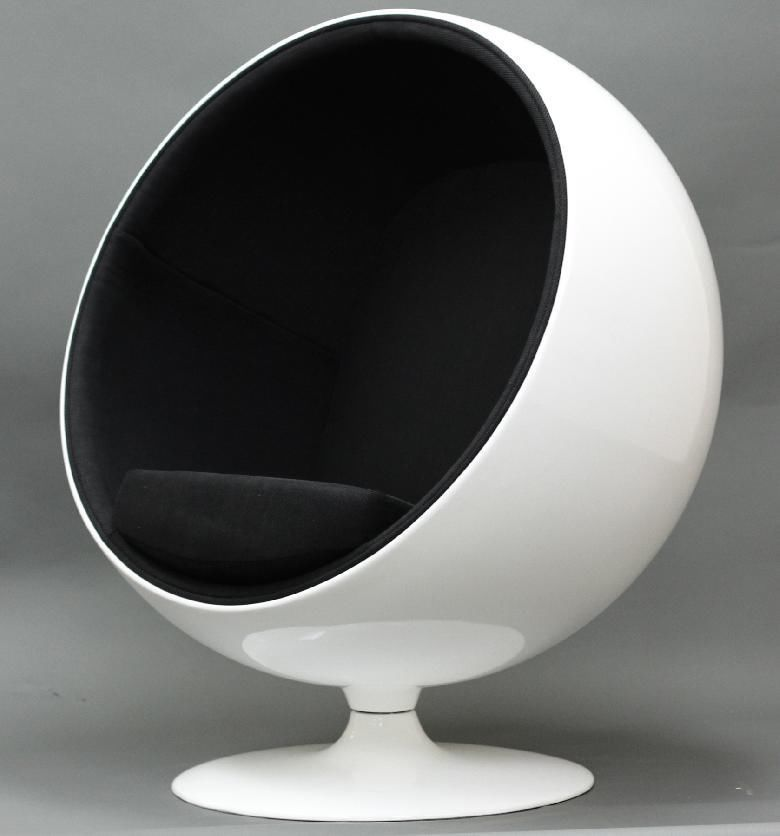 Black Ball Chair Mid Century Modern Space Retro Egg Womb