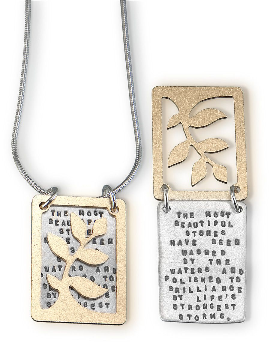 Sterling Silver (gestempelde tekst)  and Brass Inspirational Necklace (ajour gezaagd)