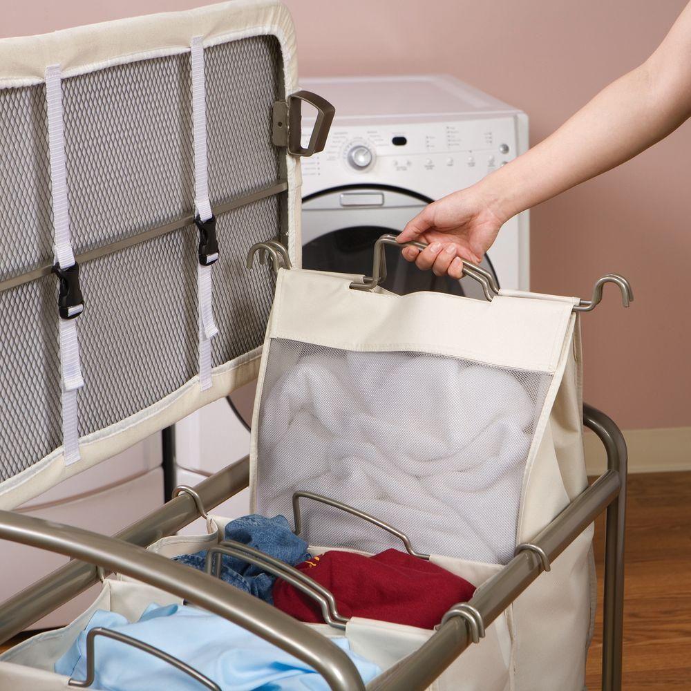 Seville Classics 3 Bag Laundry Sorter With Folding Table Web182