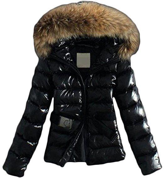 83fab8b61abb40 EVERY Damen Mantel mit Künstlichen Fellkragen Kapuze Glänzende Oberfläche  Warm Wintermantel Winterjacke