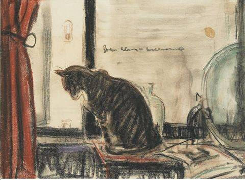 Cat Sitting in Front of a Window, Cat on a Table - John ...