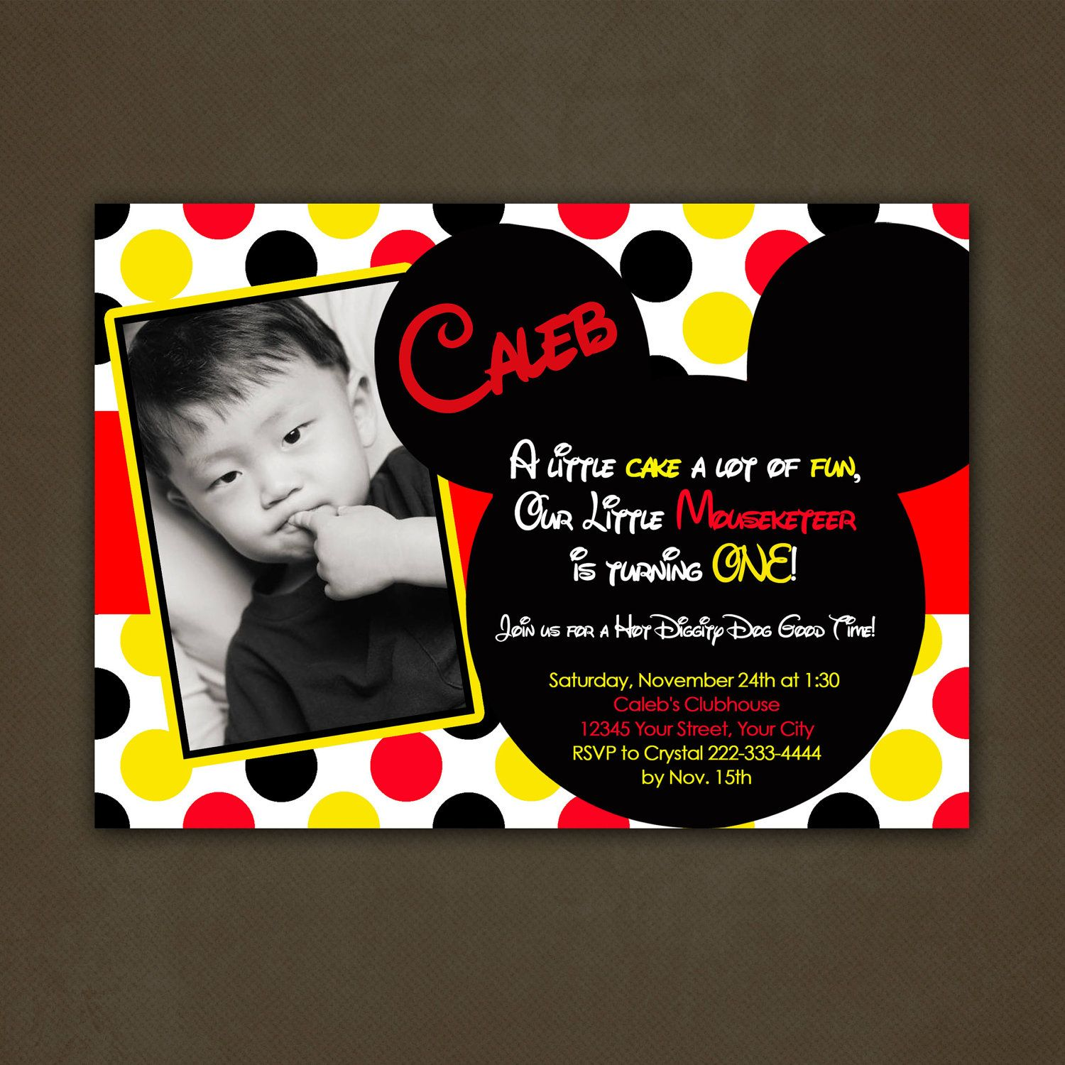 Printable Mickey Mouse Birthday Party Invitations | Caleb\'s 1st ...