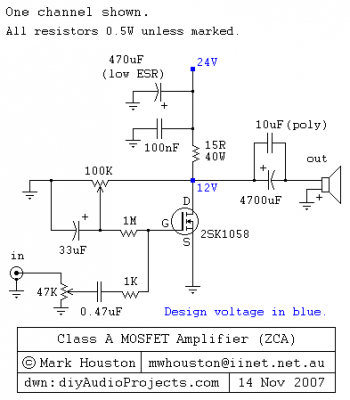 Class-A MOSFET Amplifier by 2SK1058 - schematic | Радио